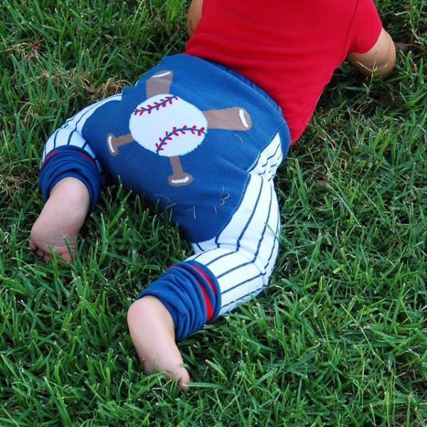 Navy & White Baseball Cotton Leggings