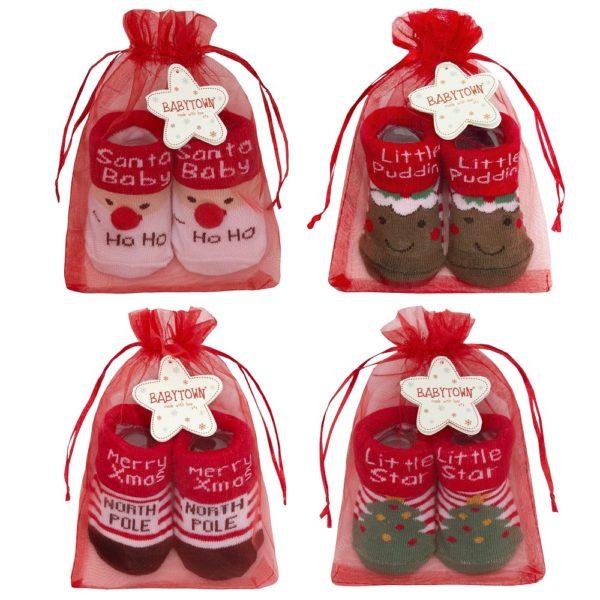 Baby Christmas Socks in Organza Gift Bag