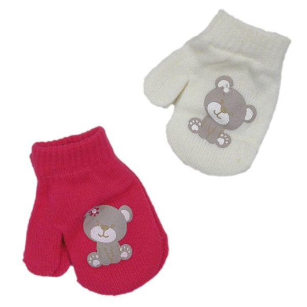 Baby Girls Bear Mittens