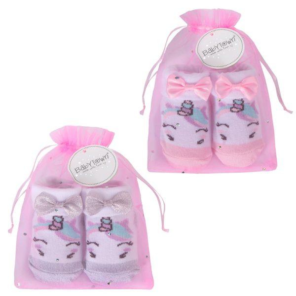 Baby Unicorn Socks in Organza Gift Bag