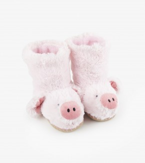 Pig Kids Fuzzy Slouch Slippers by Hatley
