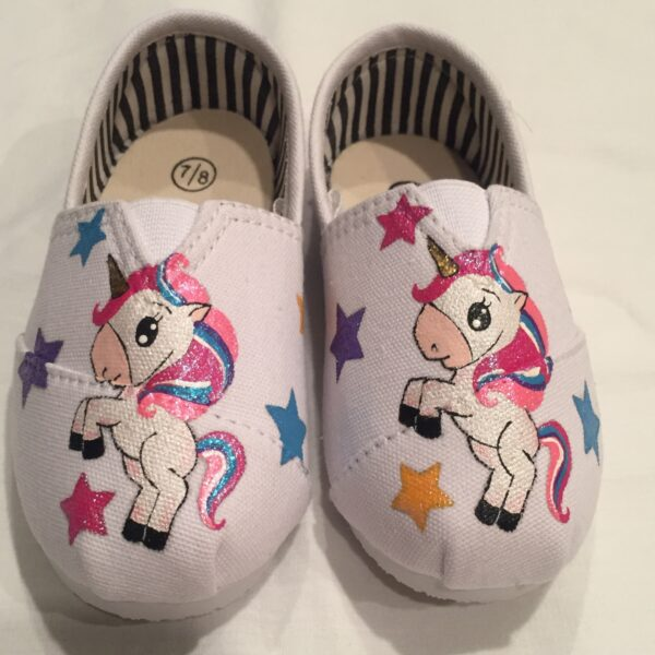 Hand Painted Unicorn Kids Shoes